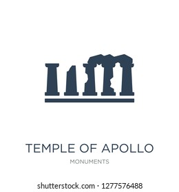 temple of apollo icon vector on white background, temple of apollo trendy filled icons from Monuments collection, temple of apollo vector illustration
