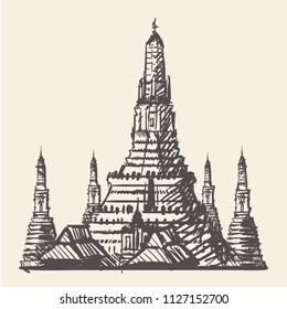 Temple in Bangkok(Thailand) hand-drawing,ector illustration.Wat Arun in Bangkok.