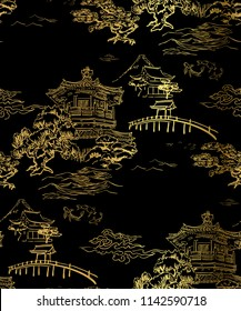 temple building view blidge fish garden vector japanese chinese seamless pattern design gold black