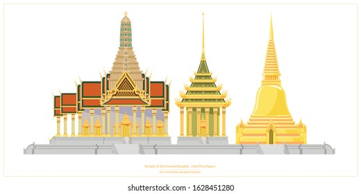 Temple of the Emerald Buddha or Wat Phra Kaew is a temple in the grand palace of Bangkok, Thailand.It consists of many detailed architecture such as golden pagoda, castle, temple etc.