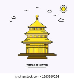 TEMPLE OF HEAVEN Monument Poster Template. World Travel Yellow illustration Background in Line Style with beauture nature Scene