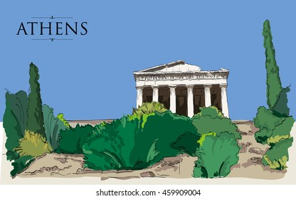 Temple of Hephaestus in Athens. Vector drawing, freehand vintage illustration