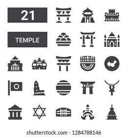 temple icon set. Collection of 21 filled temple icons included Mole antonelliana, Thailand, Pula arena, Judaism, Parthenon, Ankh, Torii gate, Nevyansk, Japan, China, Merida, Torii