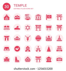 temple icon set. Collection of 30 filled temple icons included Shrine remembrance, Angkor wat, Padthai, Parthenon, Japan, Indonesia, Relics, Judaism, Torii, Torii gate, Ankh, Thailand