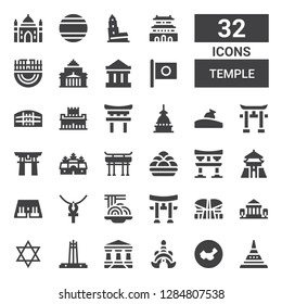 temple icon set. Collection of 32 filled temple icons included Doi suthep, China, Thailand, Parthenon, Quezon memorial circle, Judaism, Indonesia, Torii, Padthai, Ankh, Abu simbel