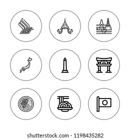 Temple icon set. collection of 9 outline temple icons with bangkok, japan, padthai, thai, walled obelisk, singapore airlines icons. editable icons.