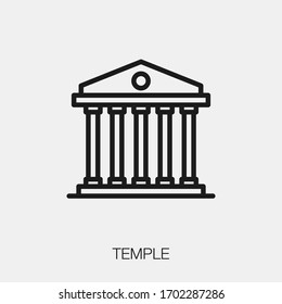 temple icon vector. Linear style sign for mobile concept and web design. temple symbol illustration. Pixel vector graphics - Vector.