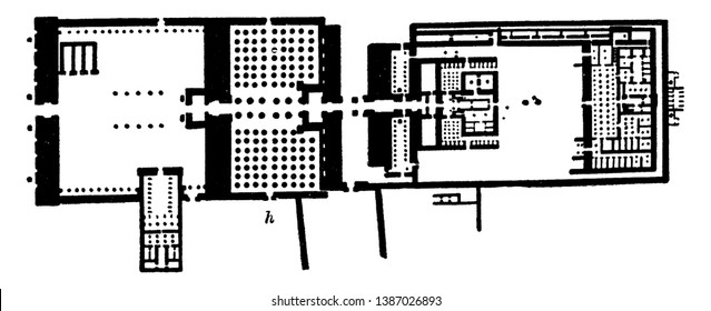 Temple of Karnak, complex, universally, ruined temples, chapels, pylons,  blueprint plans, open air museum,  vintage line drawing or engraving illustration.