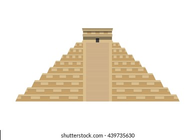 Temple of Kukulkan (El Castillo) vector flat illustration. Mayan pyramid. Chichen Itza. Yucatan, Mexico