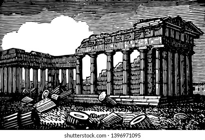 Temple of Minerva in Athens it is the famous places in Athens Roman name for Athena enjoys the reputation of being most perfect Doric temple vintage line drawing or engraving illustration.