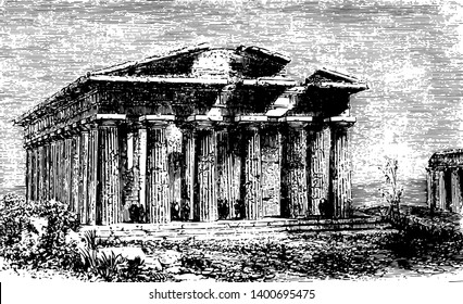 Temple of Neptune located in the Graeco to Roman ancient city of Paestum the Campania region in Italy made out of vertical columns vintage line drawing or engraving illustration.