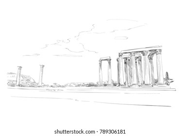 Temple of Olympian Zeus. Athens. Greece. Europe. Hand drawn sketch. Vector illustration.