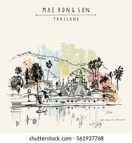 Temple on the lake in Mae Hong Son, Thailand, Southeast Asia. Water, mountains and Burmese architecture. Travel sketch. Vintage artistic postcard, poster, book illustration in vector