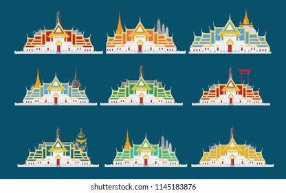Temple Thailand and blue background