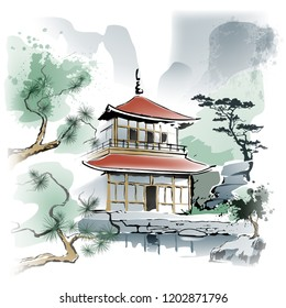 Temple under the rock Asian temple in the rocky terrain. Imitation of watercolor painting. Illustration, vector. EPS-10.