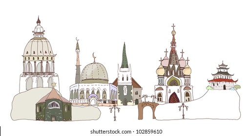 Temples and churches of religions