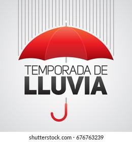 Temporada de lluvia, Rain season spanish text, umbrella with clouds vector illustration