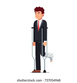 Temporarily disabled sad business man with broken leg bandage cast walking using crutches. Unhappy injured corporate office worker wearing formal suit. Flat style vector illustration isolated on white