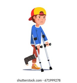 Temporarily disabled sad teenage boy with broken leg bandage cast walking using crutches. Unhappy injured school kid in baseball cap. Flat style vector illustration isolated on white background.