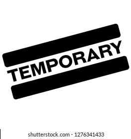 temporary black stamp, sticker, label on white background