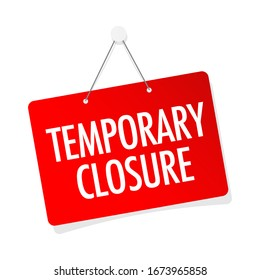 Temporary closure on door sign hanging