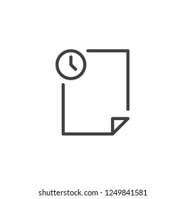 Temporary file outline icon. linear style sign for mobile concept and web design. History archive file and clock simple line vector icon. Symbol, logo illustration. Pixel perfect vector graphics