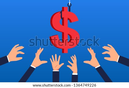 Temptation Group Hands Grab Dollar On Stock Vector (Royalty Free