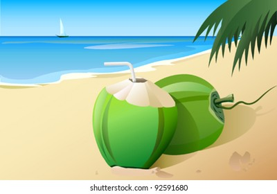 Tempting coconuts on the beach