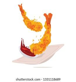 Tempura or fried shrimp with sauce. Japanese food - vector illustration