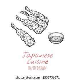 Tempura japanese dish, hand drawn vector illustration, isolated sketched design.
