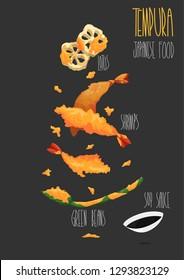 Tempura japanese food vector set. Shrimp tempura. Tempura ingredients. Vector illustration
