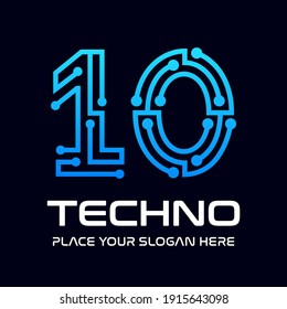 Ten or 10 number technology vector logo template. This design use digital symbol.