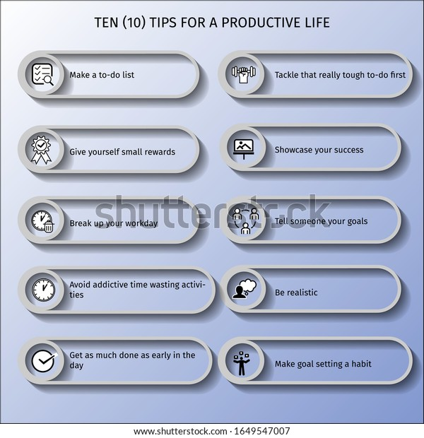 Ten (10) tips for a productive life infographic vector illustrations