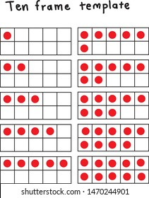 ten black and white templates of ten frame with one to ten red dots for practicing basic math counting, addition, subtraction, multiplication, division up to ten.