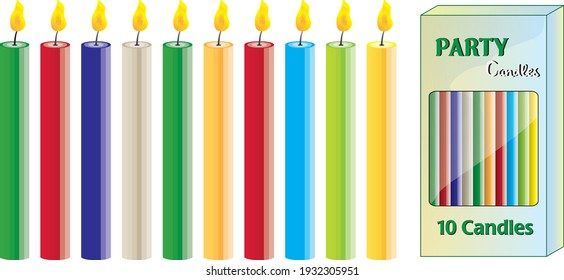 ten candles colorful set with box isolated vector