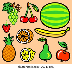 Ten cartoon fruit - vector illustration
