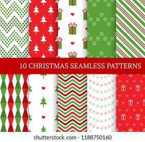 Ten Christmas different seamless patterns. Xmas endless texture for wallpaper, web page background, wrapping paper and etc. Retro style. Snowflakes, zigzag and Christmas tree.