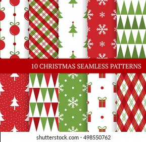 Ten Christmas different seamless patterns. Endless texture for wallpaper, web page background, wrapping paper and etc. Retro style. Christmas tree, ball, snowflakes and triangles.