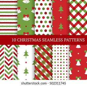 Ten Christmas different seamless patterns. Xmas endless texture for wallpaper, web page background, wrapping paper and etc. Retro style. Bells, christmas trees, polka dots and argyle.