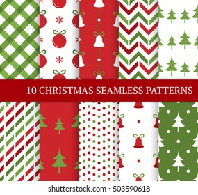 Ten Christmas different seamless patterns. Xmas endless texture for wallpaper, web page background, wrapping paper and etc. Retro style. Bells, polka dots, christmas trees and balls.