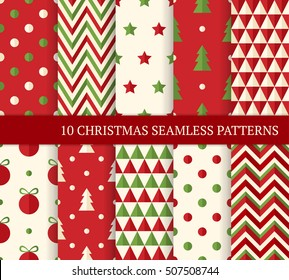 Ten Christmas different seamless patterns. Endless texture for wallpaper, web page background, wrapping paper and etc. Flat style. Polka dot, zigzag, Christmas tree and ball.