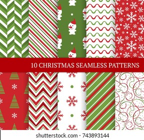 Ten Christmas different seamless patterns. Xmas endless texture for wallpaper, web page background, wrapping paper and etc. Retro style. Snowflakes, zigzag, christmas tree and snowman.