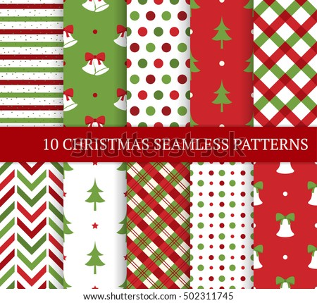 Ten Christmas Different Seamless Patterns Xmas Stock Vector Royalty Simple Christmas Patterns