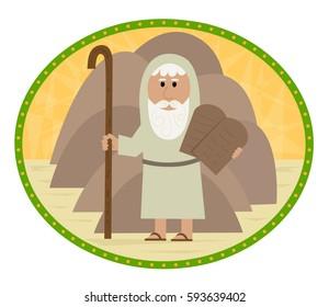 The Ten Commandments - Clip art of Moses carrying the ten commandments. Eps10