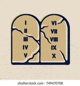 The Ten Commandments icon in cartoon style isolated on grunge texture background.