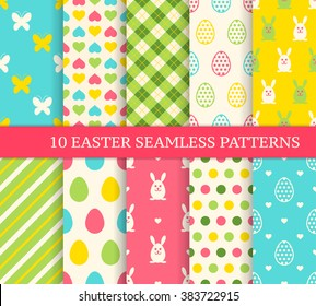 Ten different easter seamless patterns. Endless texture for wallpaper, fill, web page background, texture. Colorful cute background with easter bunny and ornate eggs.