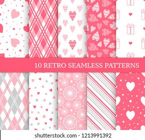 Ten different seamless patterns. Romantic pink backgrounds for Valentine's or wedding day. Endless texture for wallpaper, web page, wrapping paper and etc. Retro love style. Argyle, gift and hearts.