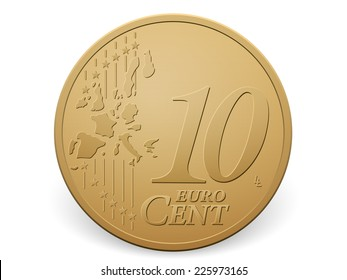 Ten euro cent coin on a white background.