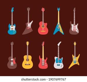 ten guitars instruments musicals set icons vector illustration design