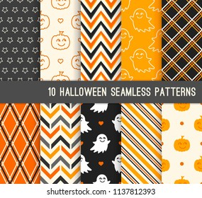 Ten Halloween different seamless patterns. Endless texture for wallpaper, web page background, wrapping paper and etc. Cute pumpkin and  smiling ghost, stripes, zigzag